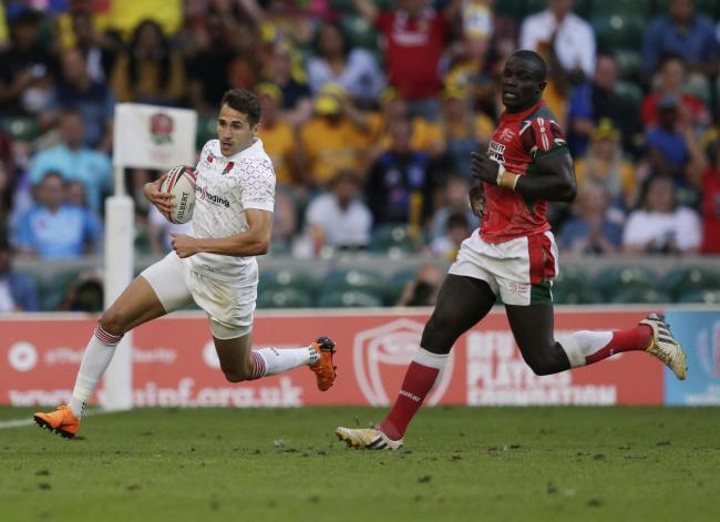 LONDON, ENGLAND - JUNE 02: Oliver Lindsay-Hague of Englandduring the HSBC London Sevens at Twickenham Stadium on June 2, 2018 in London, United Kingdom. (Photo by Henry Browne - RFU/The RFU Collection via Getty Images)