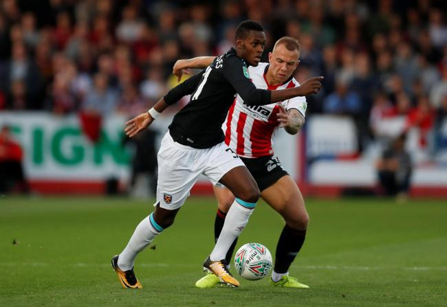 Edimilson Fernandes in action for West Ham United during a Carabao Cup second round match against Cheltenham Town. Picture: Action Images