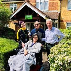 Jillian Davis with Livability manager Melinda Ndreca, Livability Care Home volunteer Jon Stillitz and Mike Turner from The Rotary Club of Edgware & Stanmore