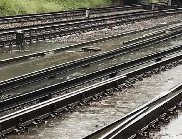 Train tracks near Orpington were flooded into Wednesday evening. Image:  Thameslink via Twitter