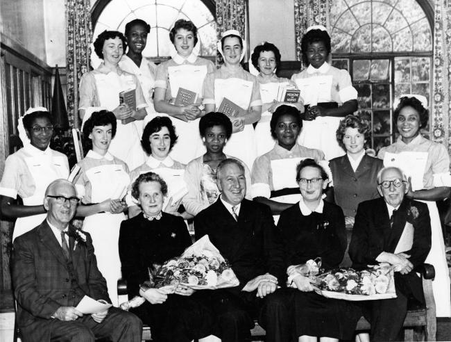 Nurses at Wilson Hospital, Mitcham in 1960. Credit: Merton Council. Free for use by all BBC wire partners.